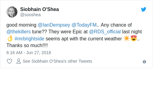 Tweet by @Siobhain O'Shea