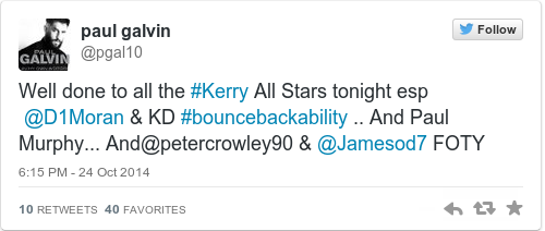 Tweet by @paul galvin