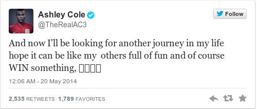 Tweet by @Ashley Cole