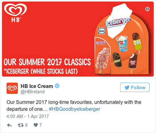 Tweet by @HB Ice Cream