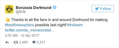 Tweet by @Borussia Dortmund