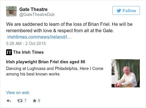 Tweet by @Gate Theatre