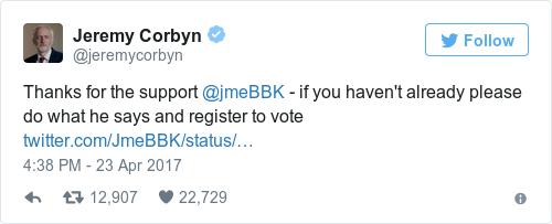 Tweet by @Jeremy Corbyn