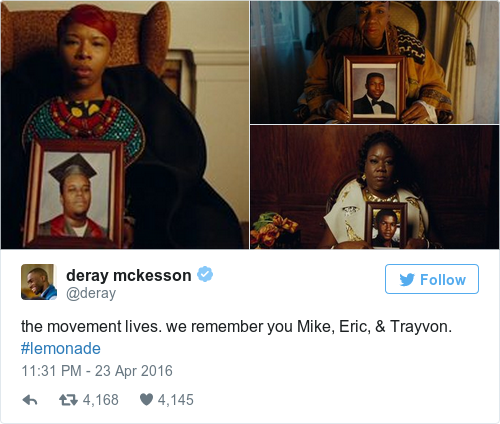 Tweet by @deray mckesson