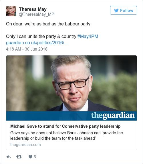 Tweet by @Theresa May