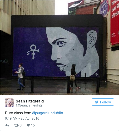 This lovely prince mural has gone up in dublin for Dublin wall mural