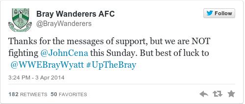 Tweet by @Bray Wanderers AFC