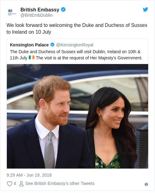 Tweet by @British Embassy