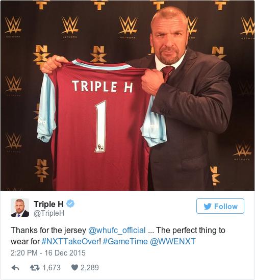 Tweet by @Triple H