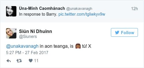Tweet by @Siún Ní Dhuinn