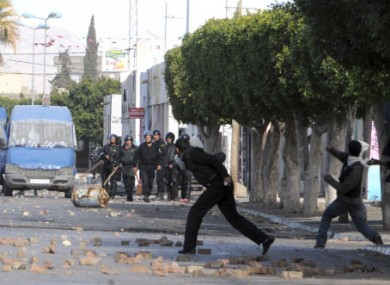 Protesters and Security Forces Battle in Tunisia. (Photo courtesy of Pa Photos).