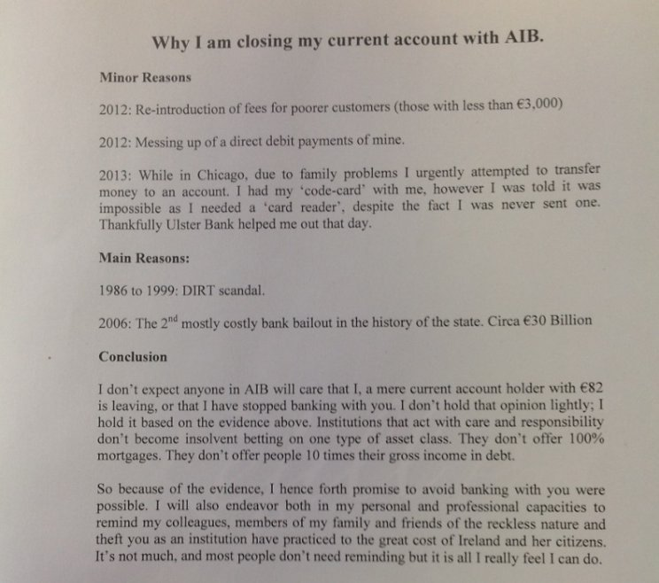 Letter Why I Am Closing My Current Account Thejournal Ie