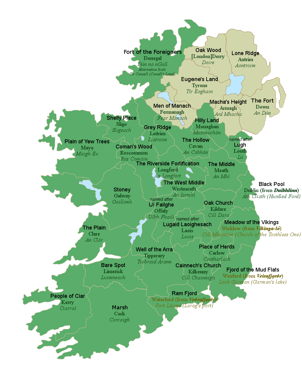 All 32 Counties Of Ireland With Their Literal English Translations