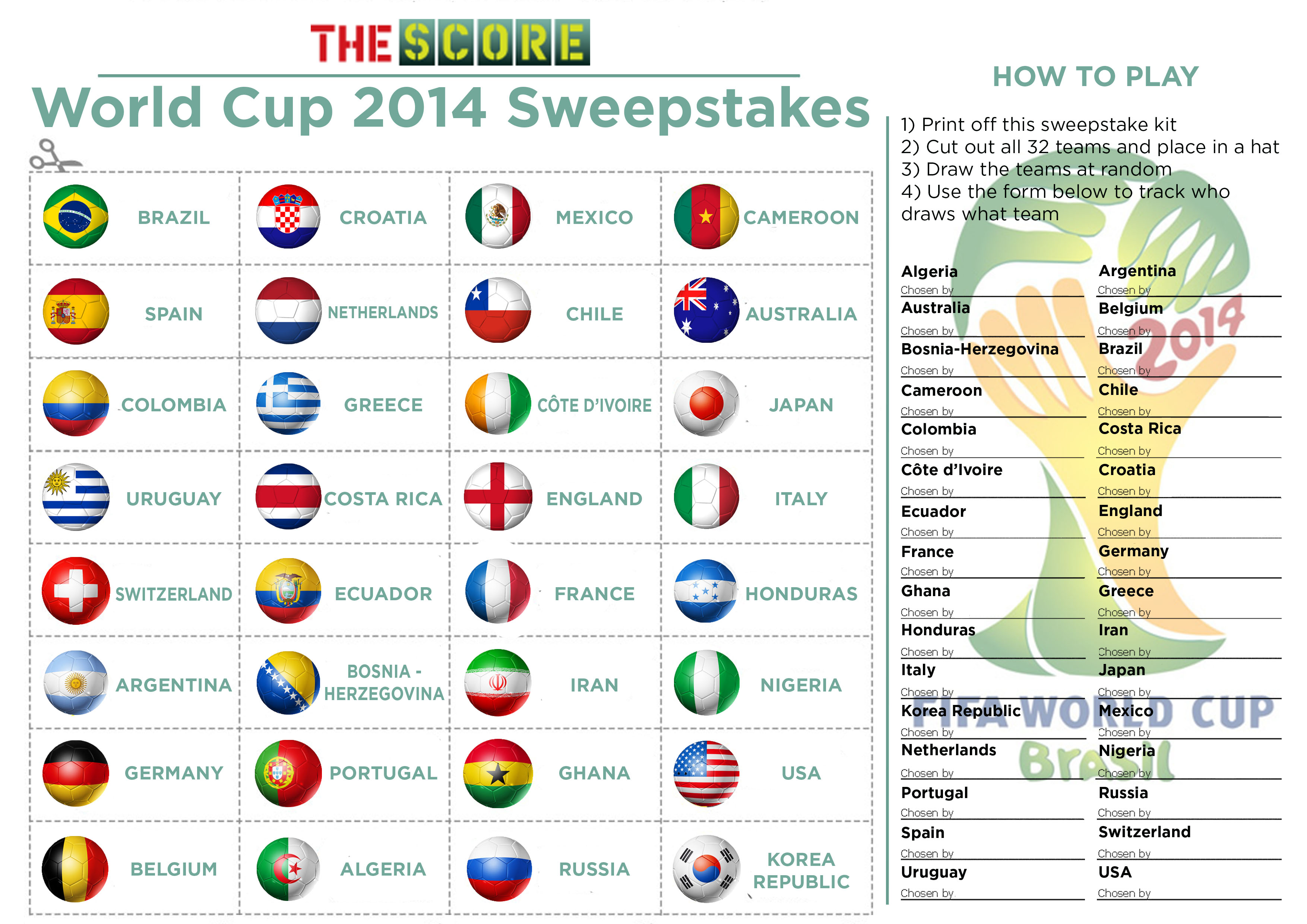 Download The Page Cut Out Team Names Draw 32 Sides Amongst You And Your Colleagues Then Have One Of Assistants Fill In Form