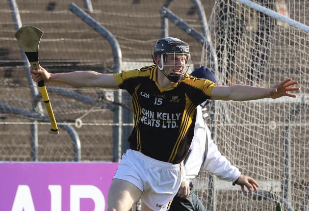 Ballyea's Pearse Lillis celebrates scoring a goal