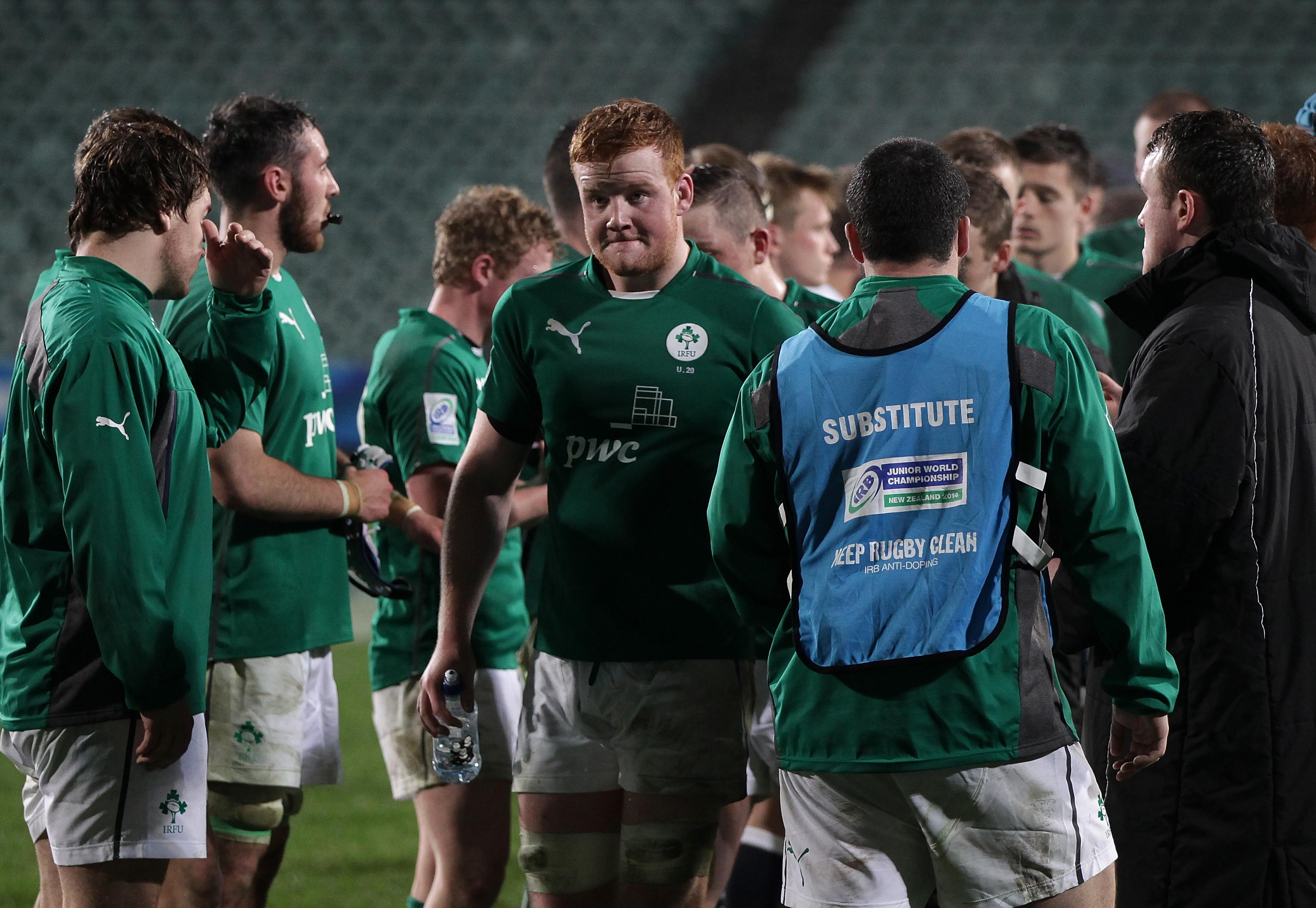 Peadar Timmins leaves the field dejected