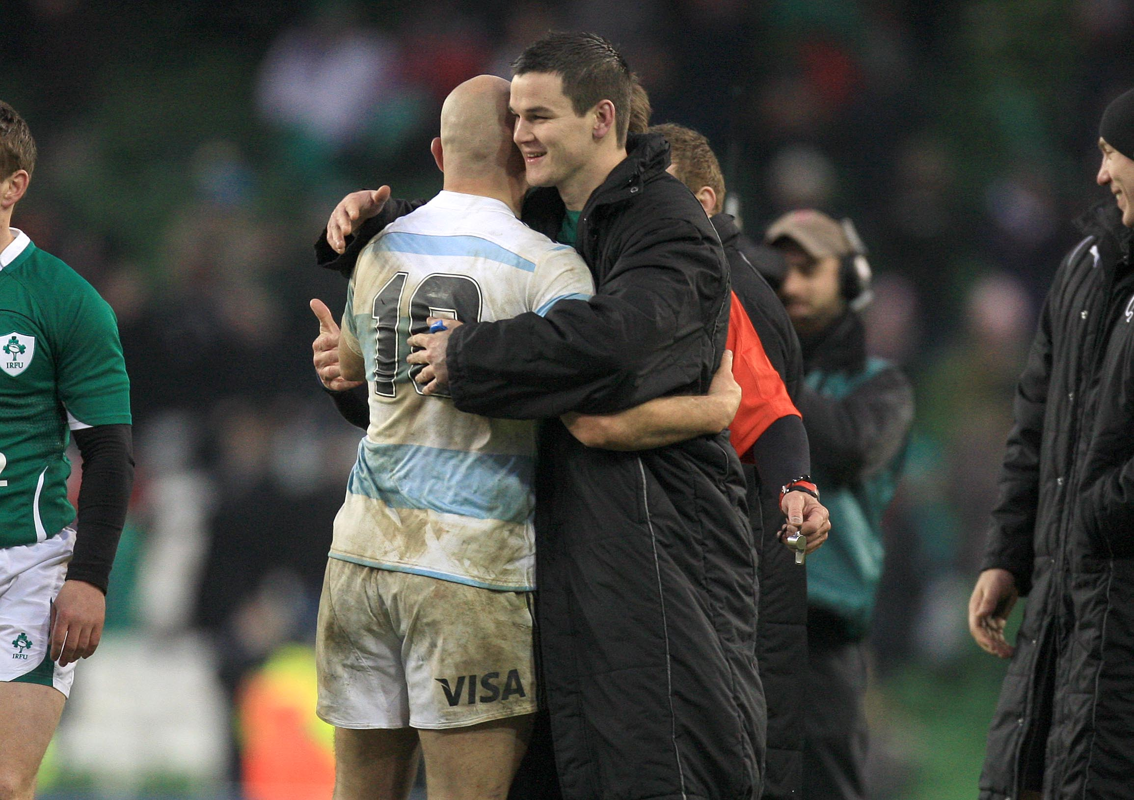 Jonathan Sexton with Felipe Contepomi after the game