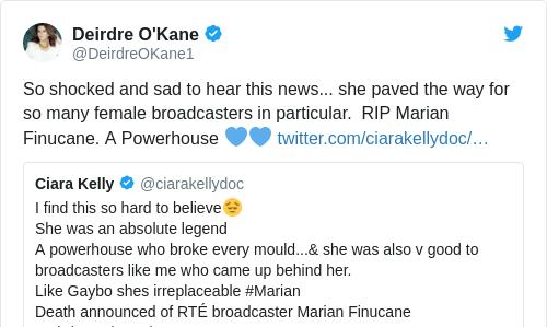Tweet by @Deirdre O'Kane