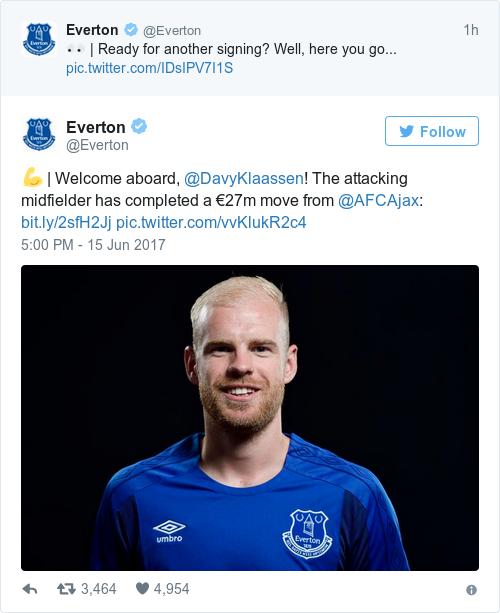 Tweet by @Everton