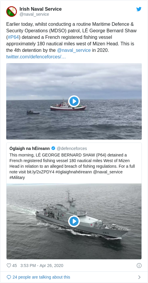 Tweet by @Irish Naval Service