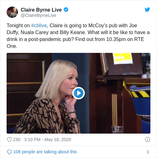 Tweet by @Claire Byrne Live