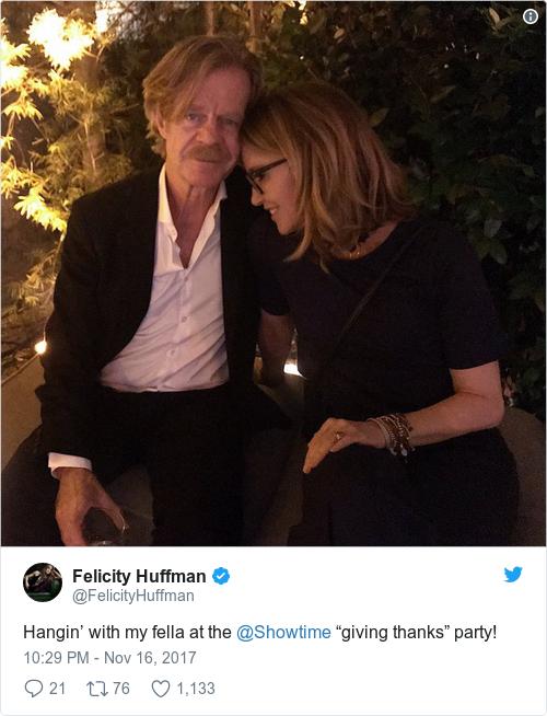 Tweet by @Felicity Huffman