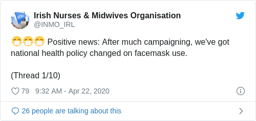 Tweet by @Irish Nurses & Midwives Organisation