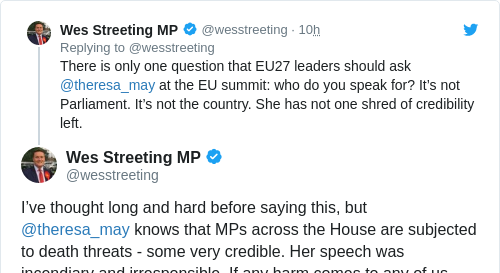 Tweet by @Wes Streeting MP