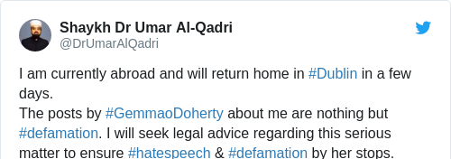 Tweet by @Shaykh Dr Umar Al-Qadri