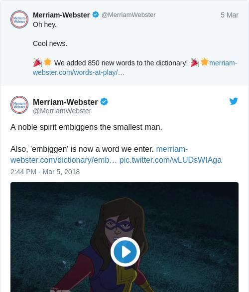 Tweet by @Merriam-Webster