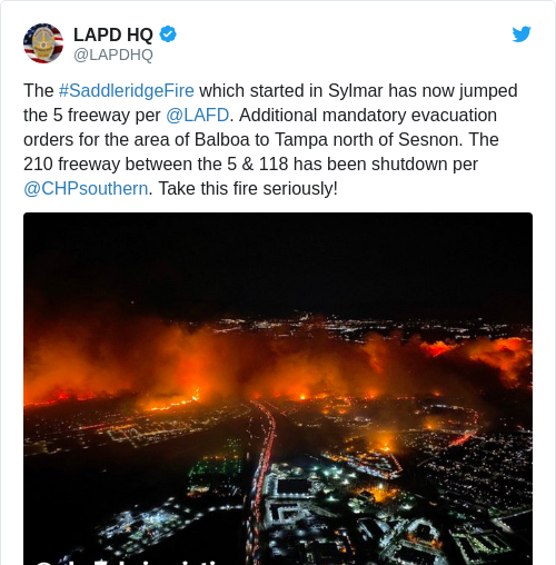 Tweet by @LAPD HQ