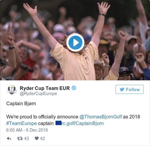 Tweet by @Ryder Cup Team EUR