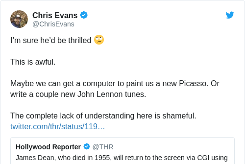 Tweet by @Chris Evans