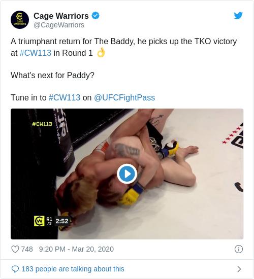 Tweet by @Cage Warriors