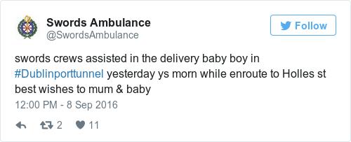 Tweet by @Swords Ambulance
