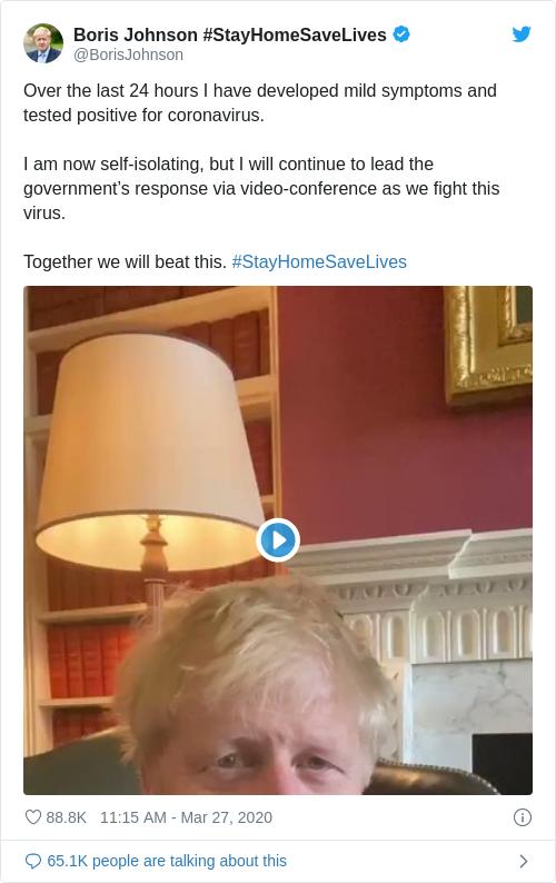Tweet by @Boris Johnson #StayHomeSaveLives