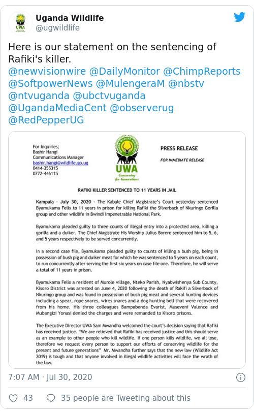 Tweet by @Uganda Wildlife