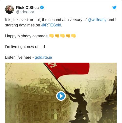 Tweet by @Rick O'Shea