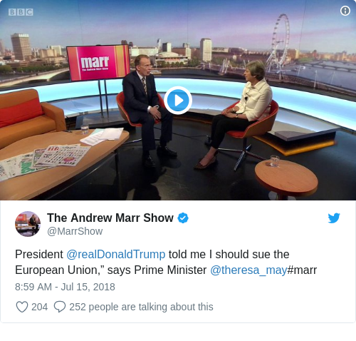 3b2319520903187422fc1e6baaf1d930 - Theresa May says Donald Trump told her to 'sue the EU'