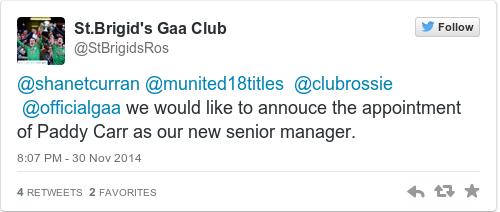 Tweet by @St.Brigid's Gaa Club
