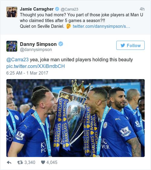 Tweet by @Danny Simpson