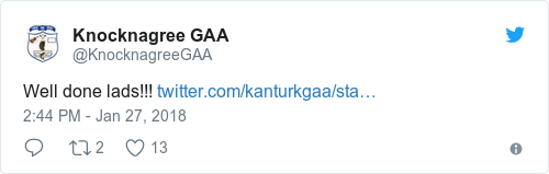 Tweet by @Knocknagree GAA