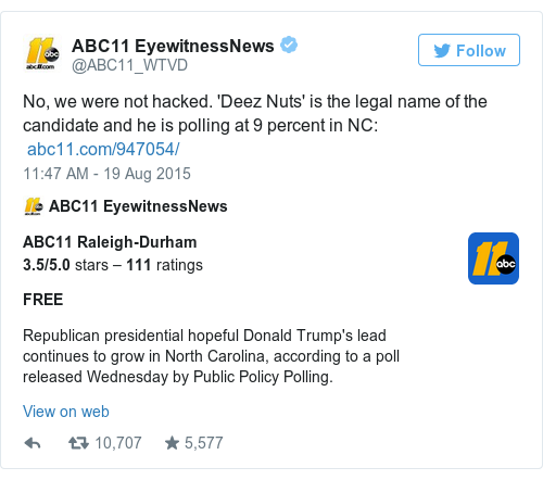 Tweet by @ABC11 EyewitnessNews