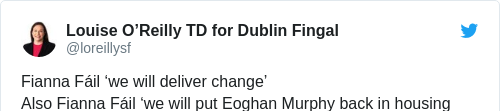 Tweet by @Louise O'Reilly TD for Dublin Fingal