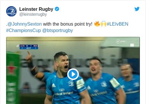 Tweet by @Leinster Rugby