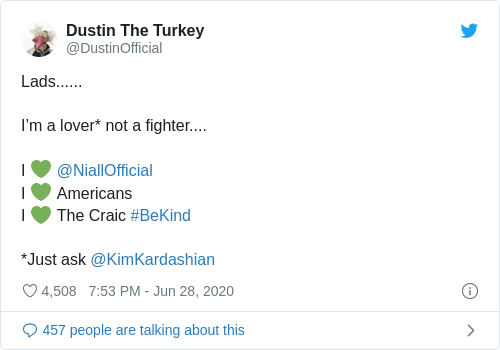 Tweet by @Dustin The Turkey