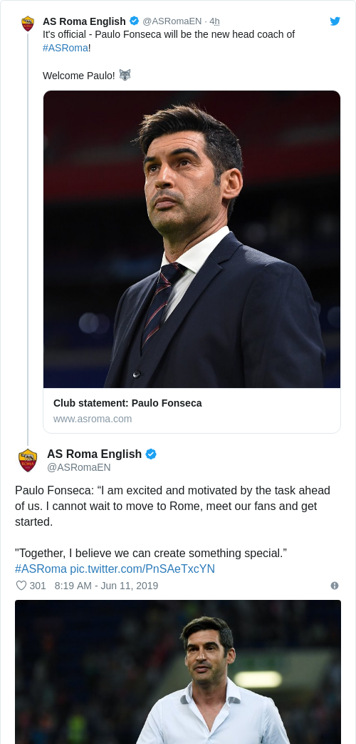 Tweet by @AS Roma English