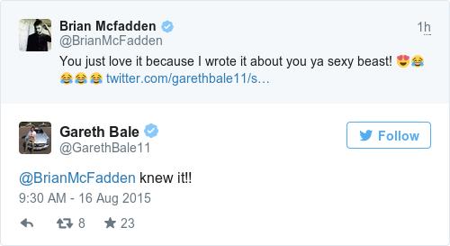Tweet by @Gareth Bale