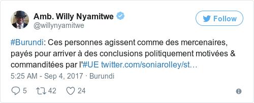 Tweet by @Amb. Willy Nyamitwe