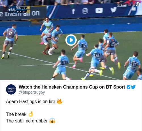 Tweet by @Watch the Heineken Champions Cup on BT Sport